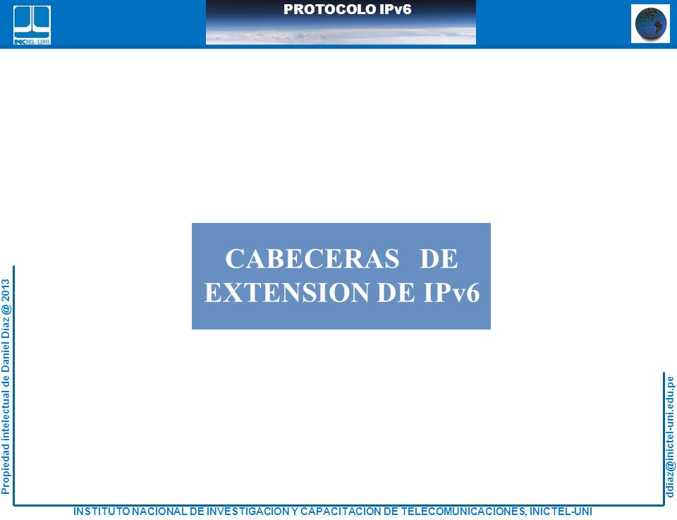CABECERAS DE EXTENSION DE IPv6