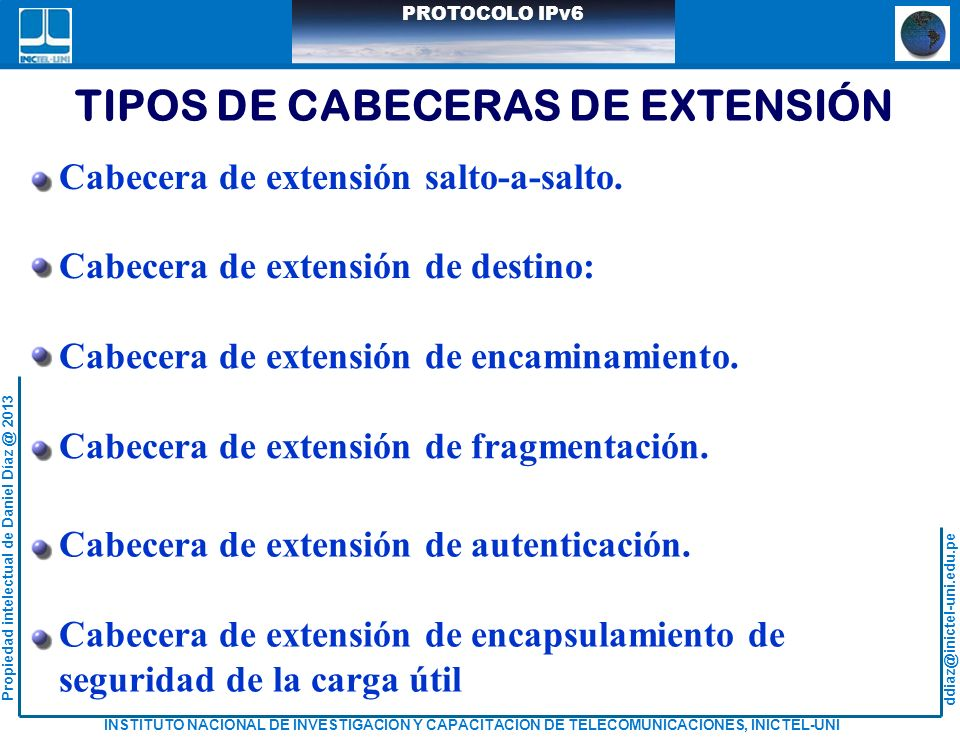 TIPOS DE CABECERAS DE EXTENSIÓN