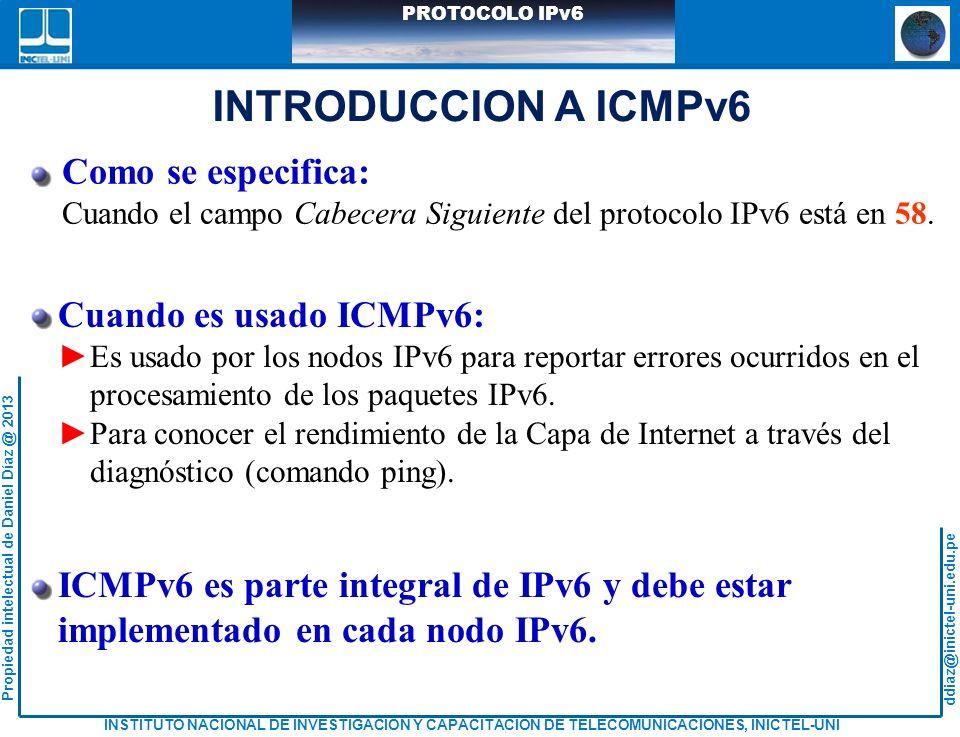 INTRODUCCION A ICMPv6 Como se especifica: Cuando es usado ICMPv6: