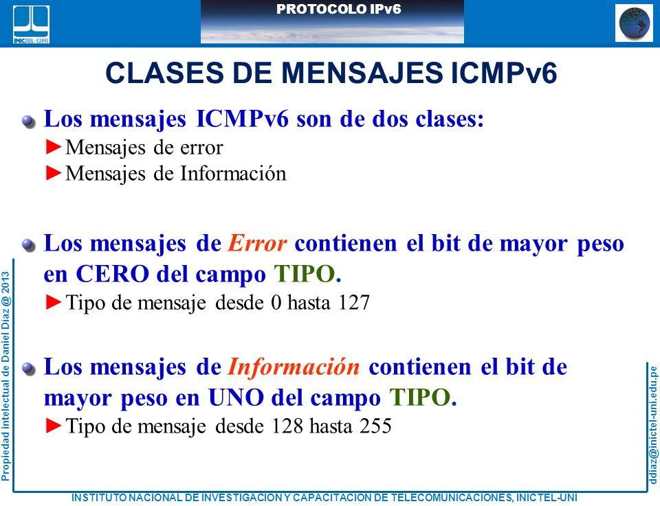 CLASES DE MENSAJES ICMPv6