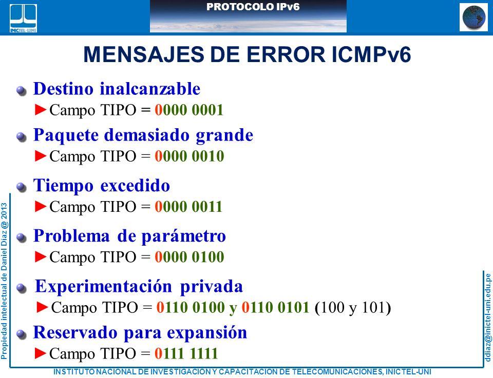 MENSAJES DE ERROR ICMPv6