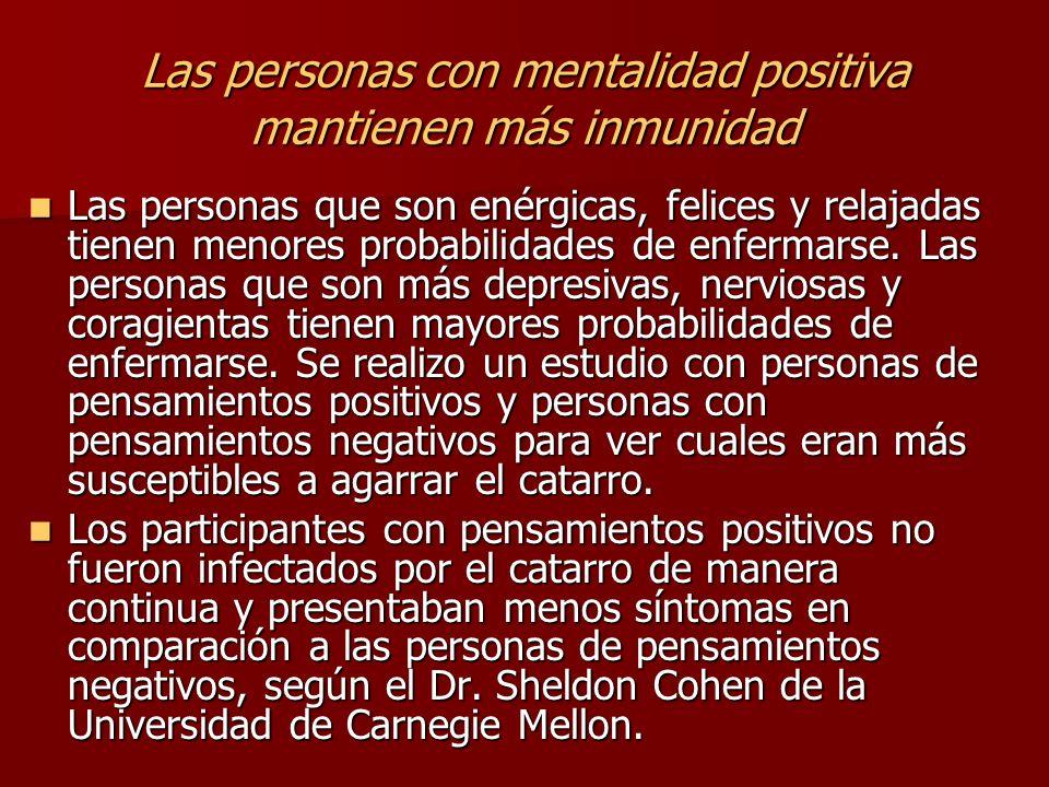 Las personas con mentalidad positiva mantienen más inmunidad