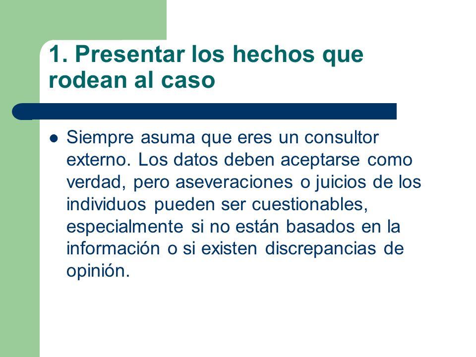 1. Presentar los hechos que rodean al caso