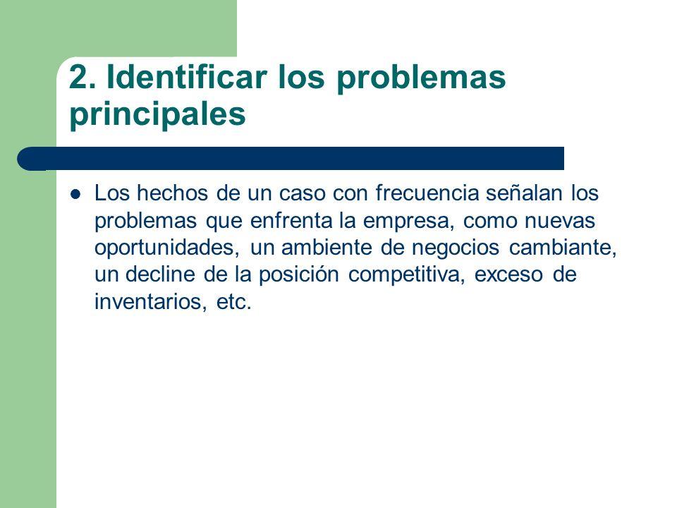2. Identificar los problemas principales