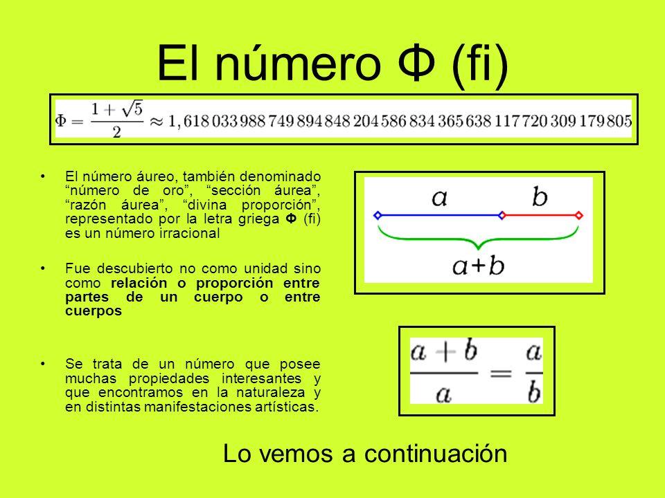 El número Φ (fi) Lo vemos a continuación