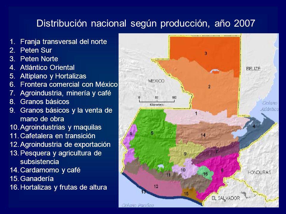 Distribución nacional según producción, año 2007