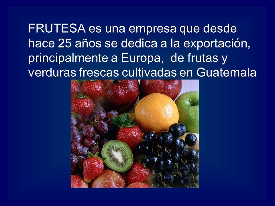 FRUTESA es una empresa que desde hace 25 años se dedica a la exportación, principalmente a Europa, de frutas y verduras frescas cultivadas en Guatemala