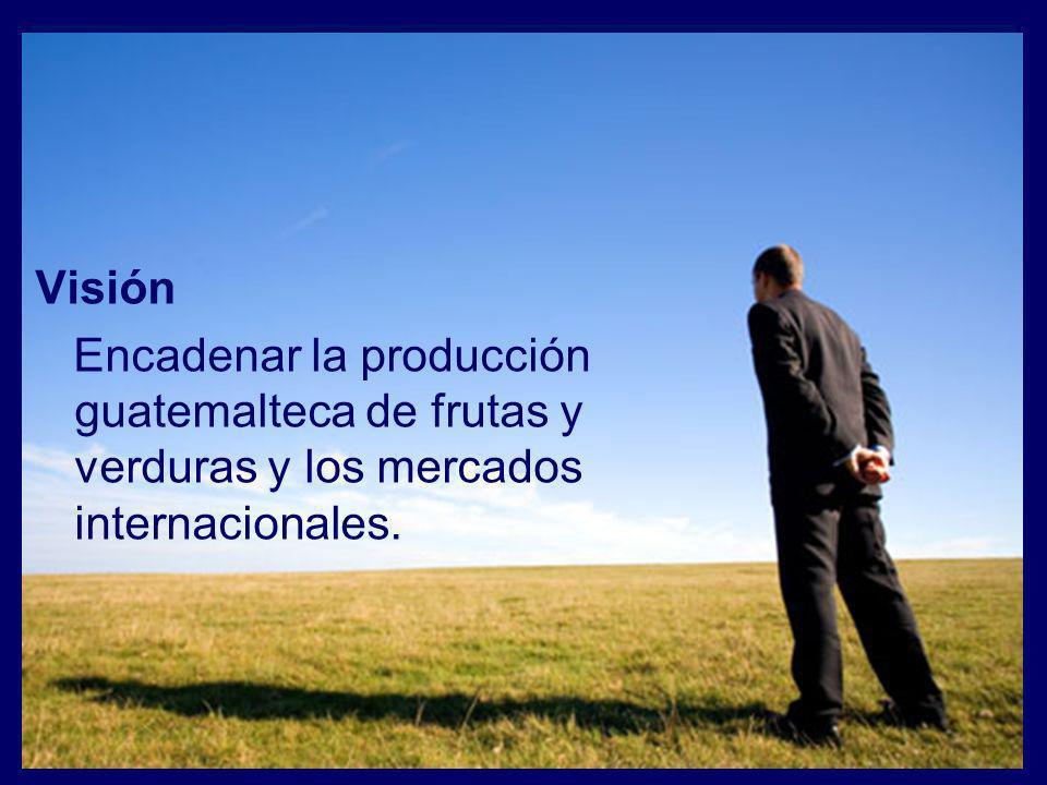 Visión Encadenar la producción guatemalteca de frutas y verduras y los mercados internacionales.