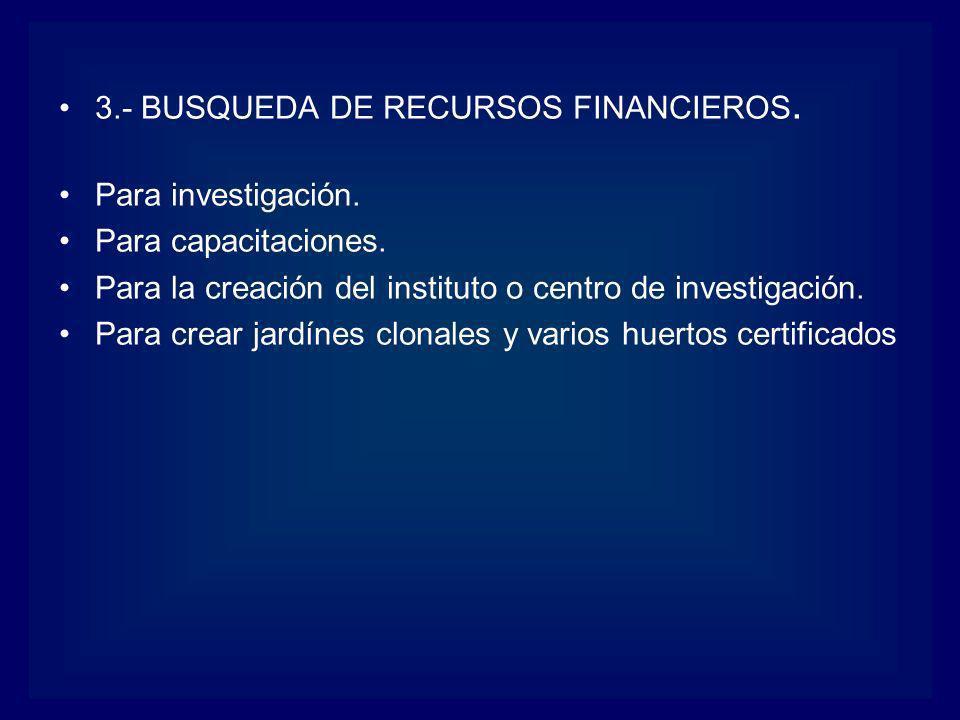 3.- BUSQUEDA DE RECURSOS FINANCIEROS.