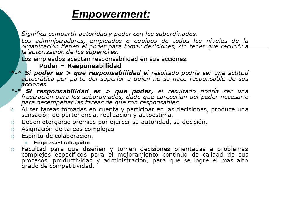 Empowerment: Significa compartir autoridad y poder con los subordinados.