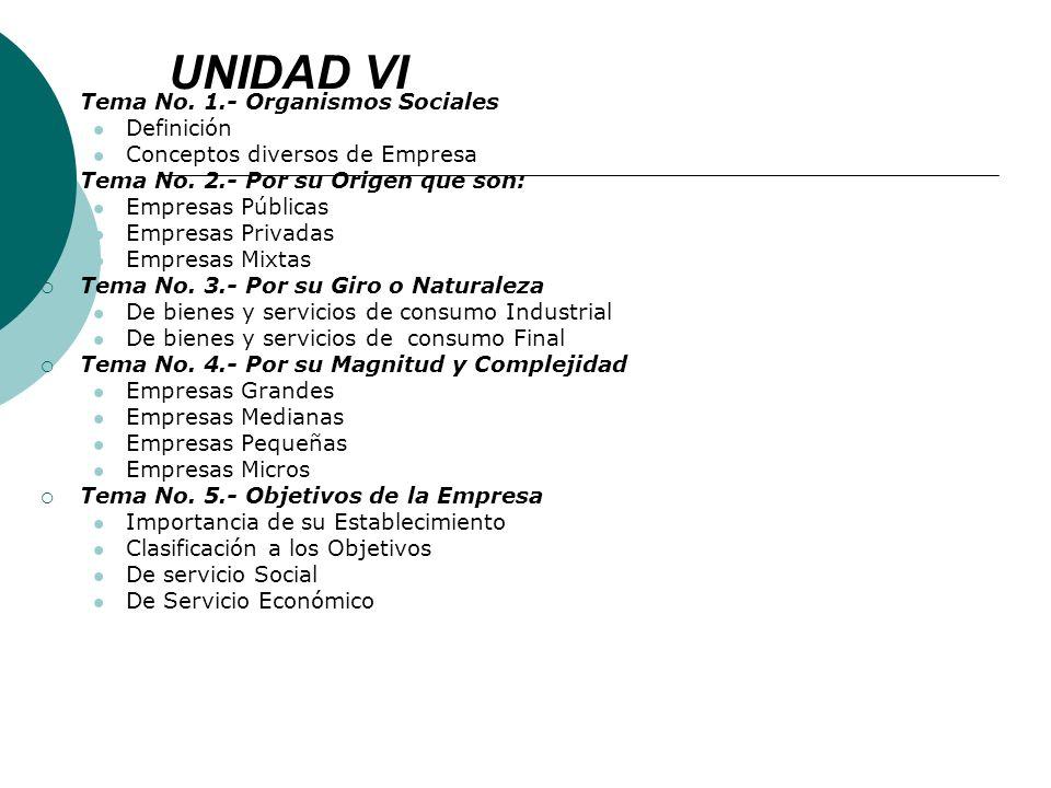 UNIDAD VI Tema No. 1.- Organismos Sociales Definición