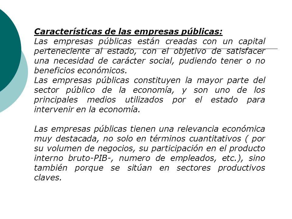Características de las empresas públicas: