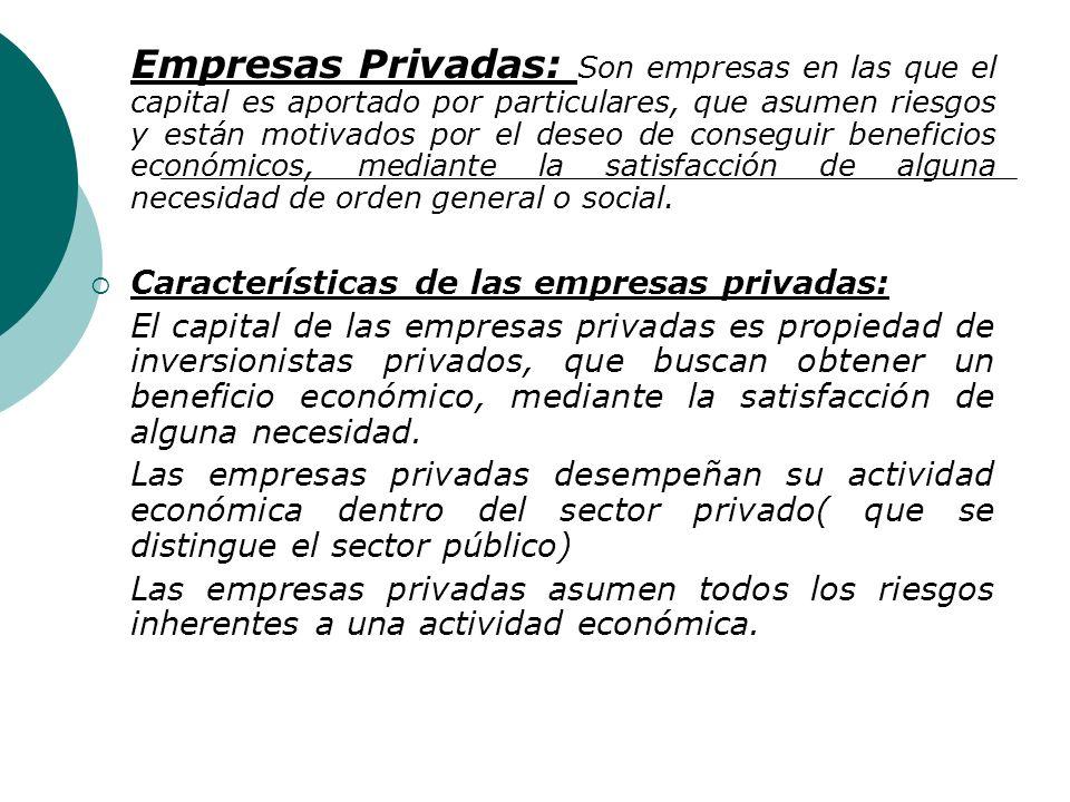 Empresas Privadas: Son empresas en las que el capital es aportado por particulares, que asumen riesgos y están motivados por el deseo de conseguir beneficios económicos, mediante la satisfacción de alguna necesidad de orden general o social.