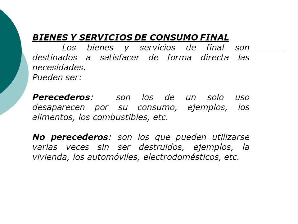 BIENES Y SERVICIOS DE CONSUMO FINAL
