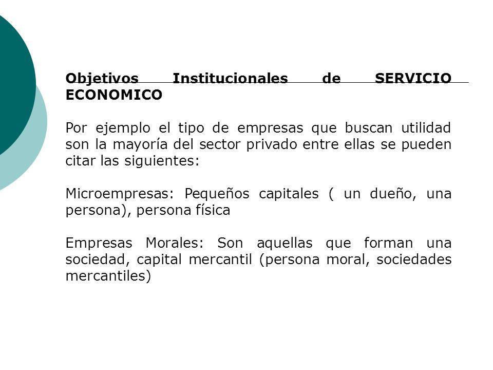 Objetivos Institucionales de SERVICIO ECONOMICO