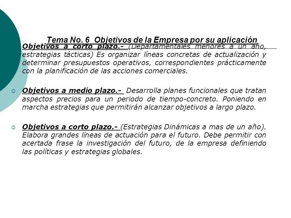 Tema No. 6 Objetivos de la Empresa por su aplicación
