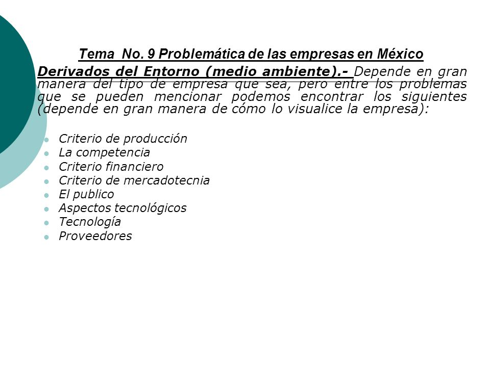 Tema No. 9 Problemática de las empresas en México