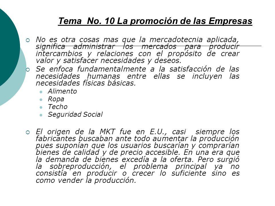 Tema No. 10 La promoción de las Empresas
