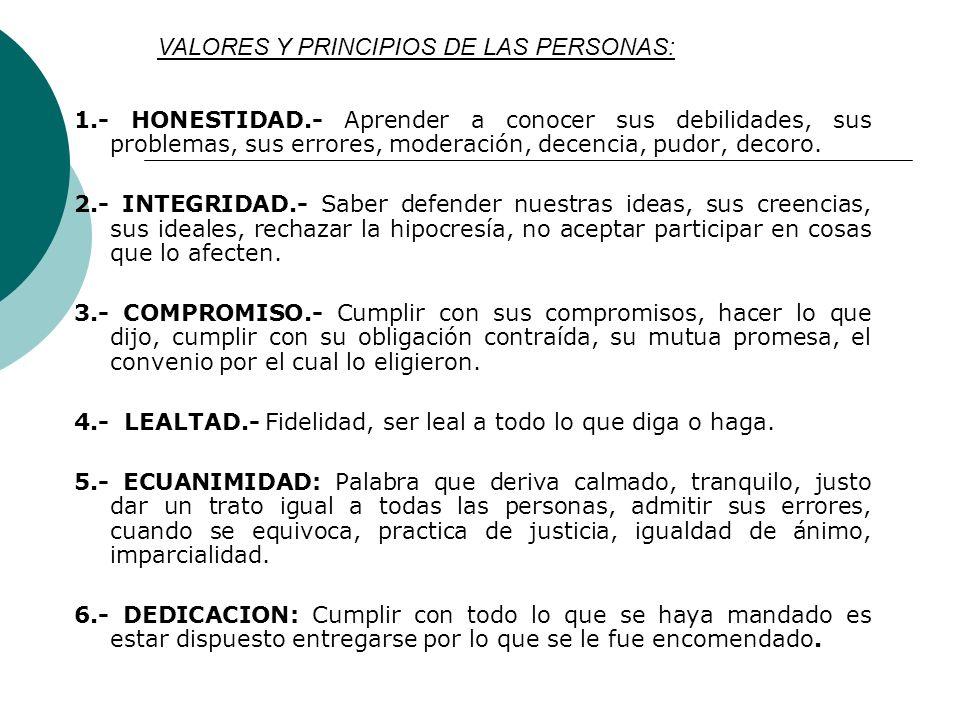 VALORES Y PRINCIPIOS DE LAS PERSONAS: