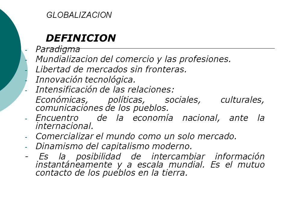 DEFINICION Paradigma Mundializacion del comercio y las profesiones.