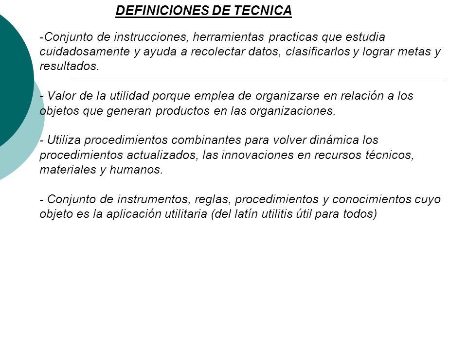 DEFINICIONES DE TECNICA