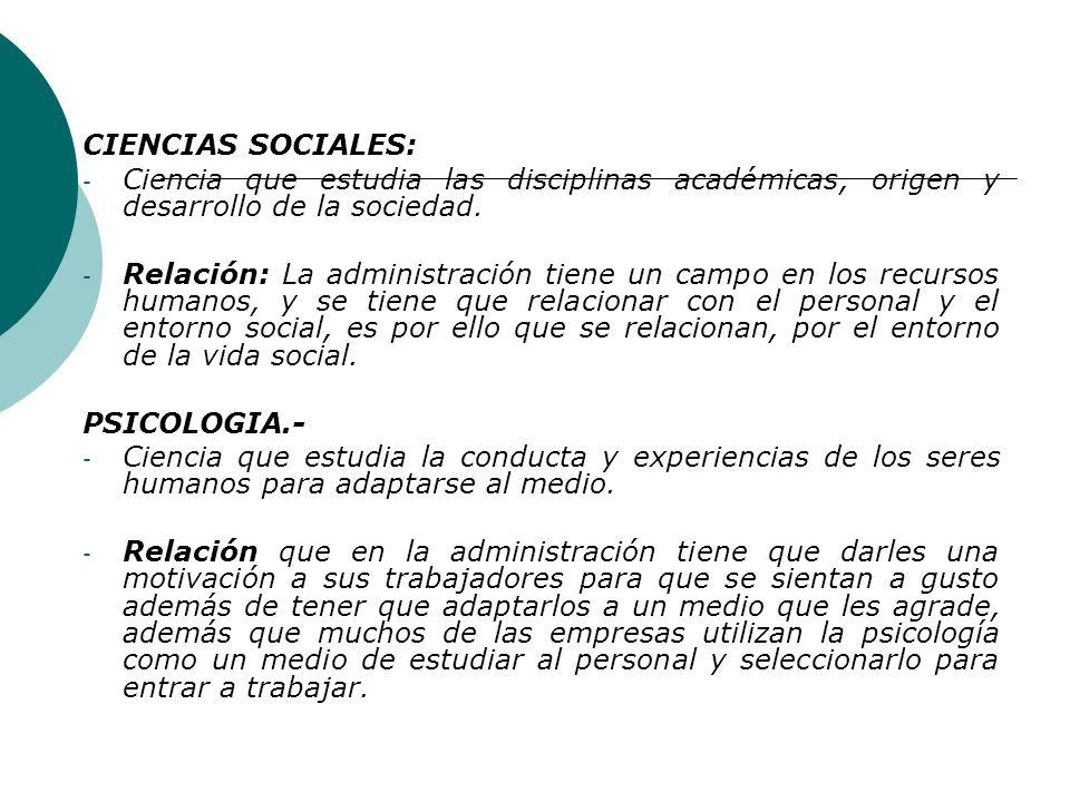 CIENCIAS SOCIALES: Ciencia que estudia las disciplinas académicas, origen y desarrollo de la sociedad.