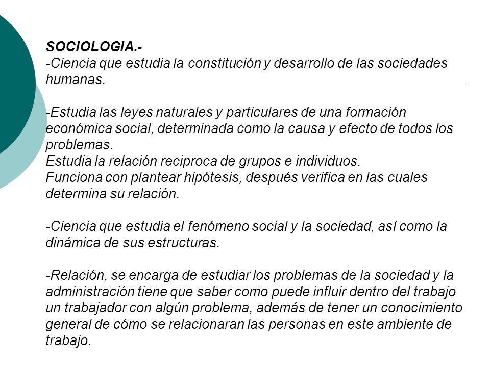 SOCIOLOGIA.- -Ciencia que estudia la constitución y desarrollo de las sociedades humanas.