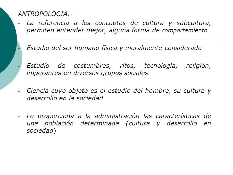 ANTROPOLOGIA.- La referencia a los conceptos de cultura y subcultura, permiten entender mejor, alguna forma de comportamiento.