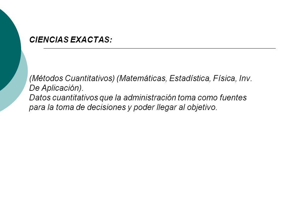 CIENCIAS EXACTAS: (Métodos Cuantitativos) (Matemáticas, Estadística, Física, Inv.