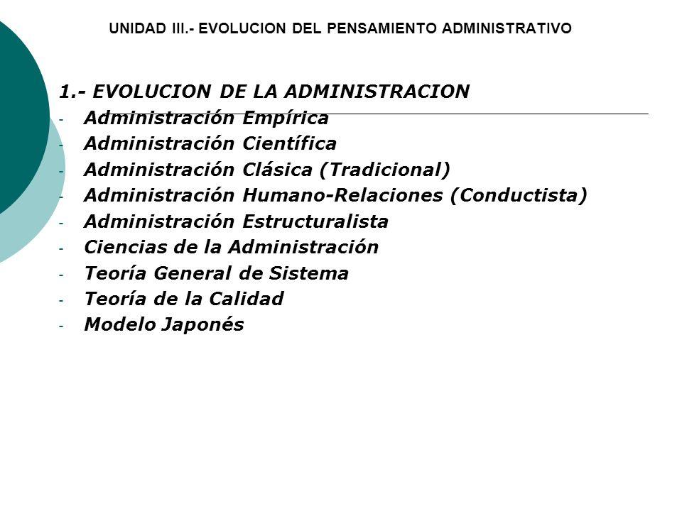 UNIDAD III.- EVOLUCION DEL PENSAMIENTO ADMINISTRATIVO