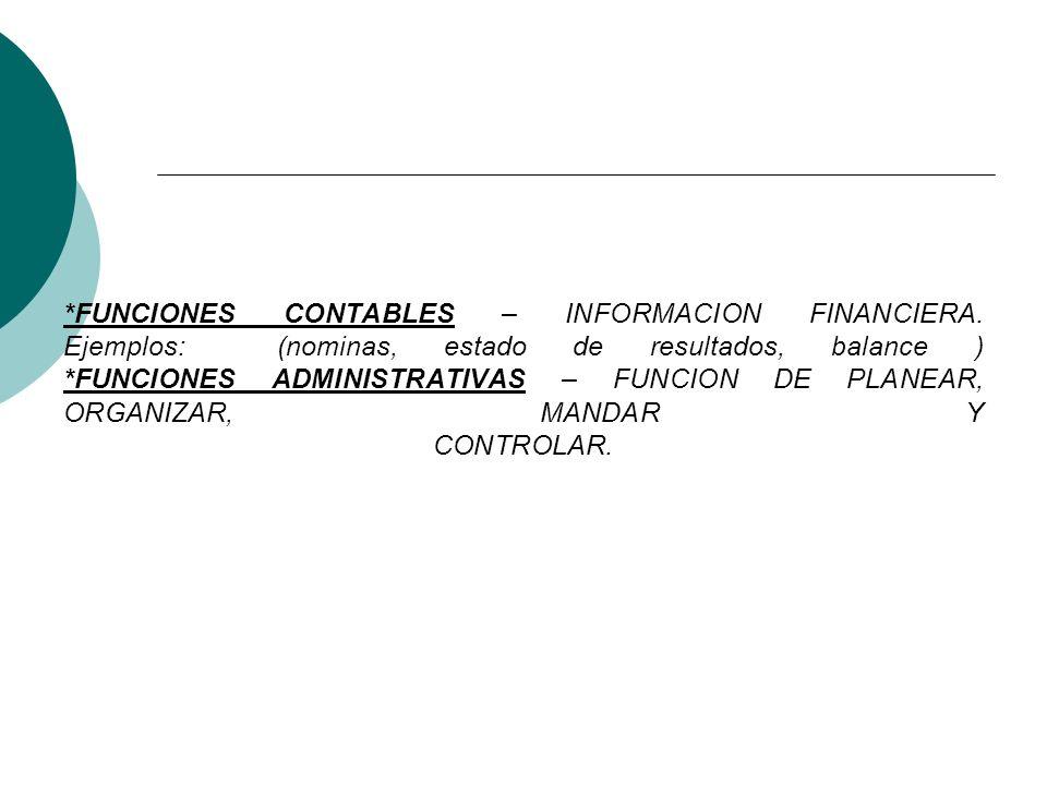 FUNCIONES CONTABLES – INFORMACION FINANCIERA