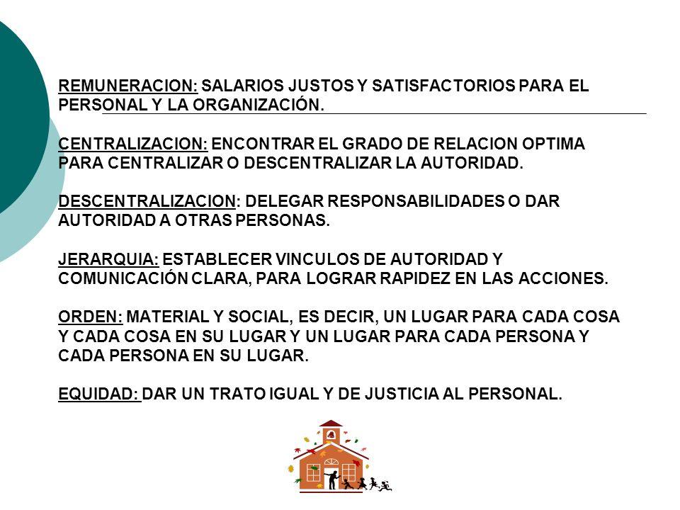 REMUNERACION: SALARIOS JUSTOS Y SATISFACTORIOS PARA EL PERSONAL Y LA ORGANIZACIÓN.