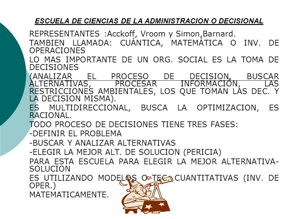 ESCUELA DE CIENCIAS DE LA ADMINISTRACION O DECISIONAL