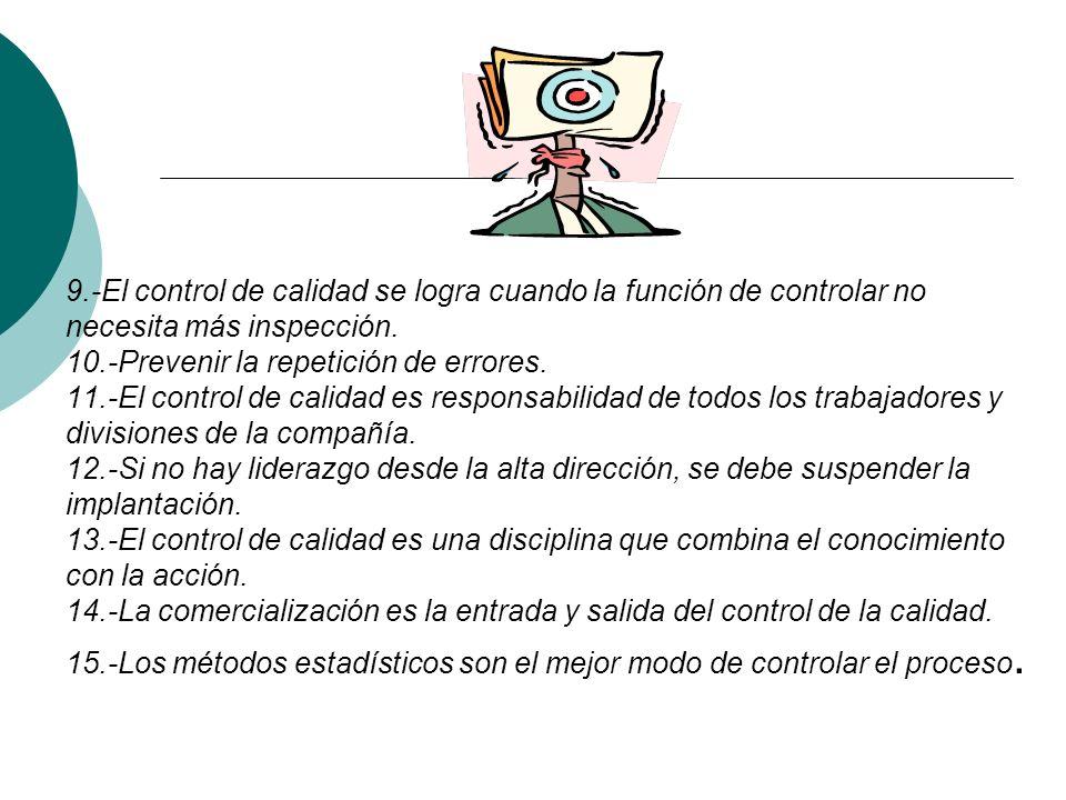 9.-El control de calidad se logra cuando la función de controlar no necesita más inspección.