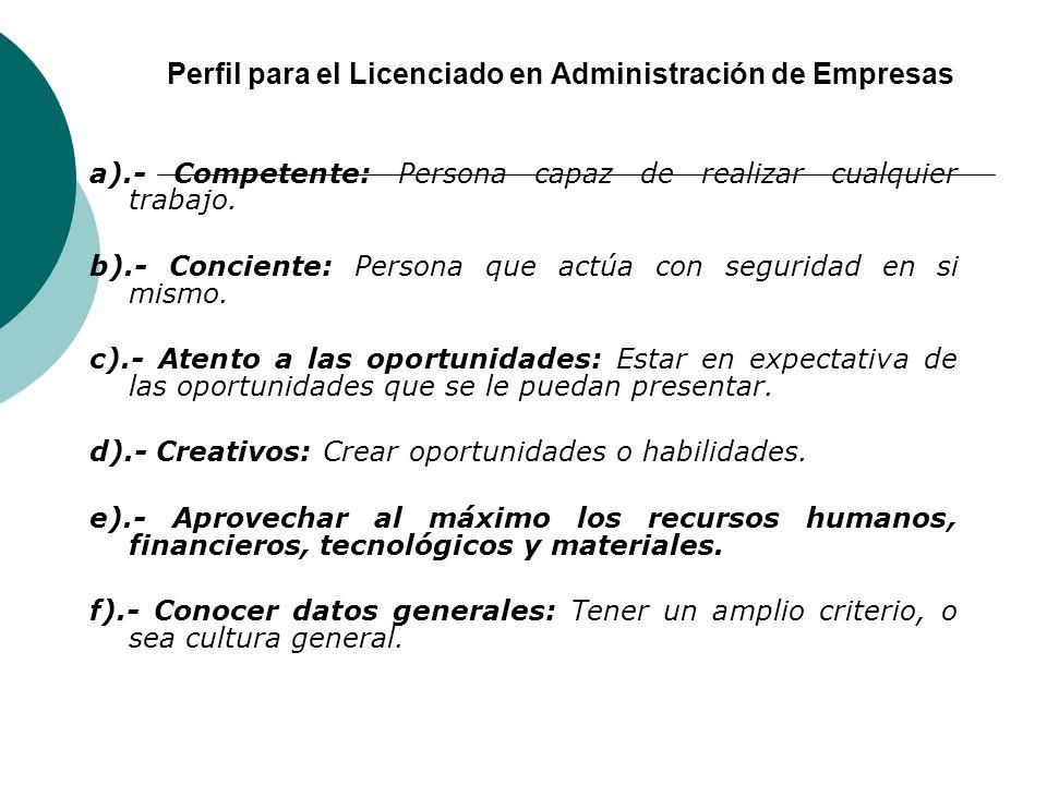Perfil para el Licenciado en Administración de Empresas