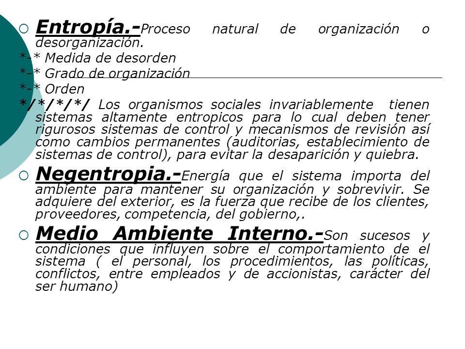 Entropía.-Proceso natural de organización o desorganización.
