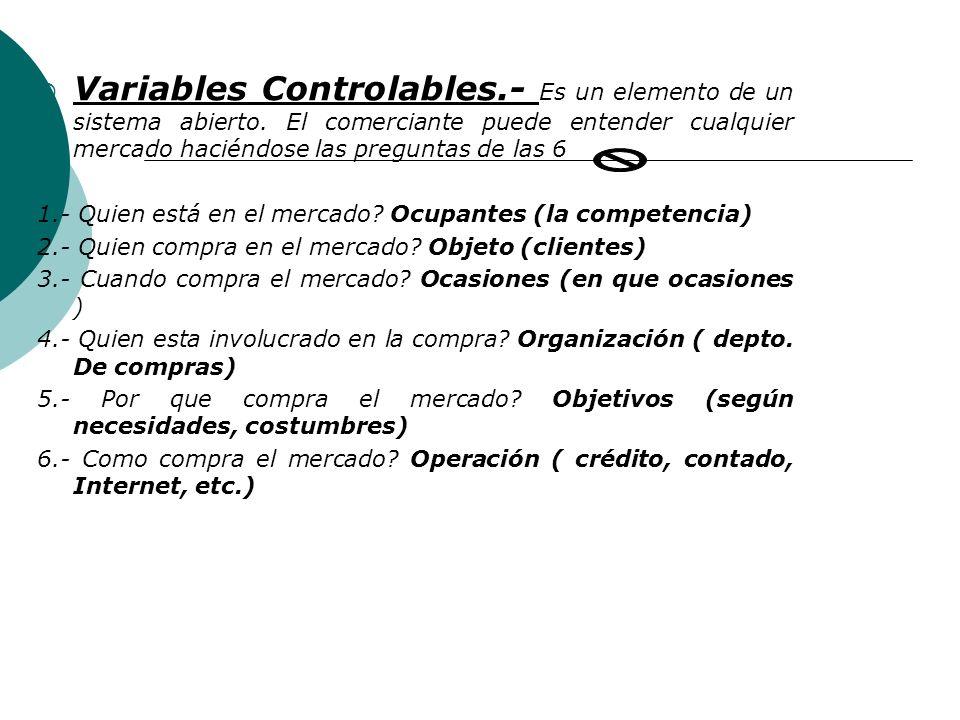 Variables Controlables. - Es un elemento de un sistema abierto