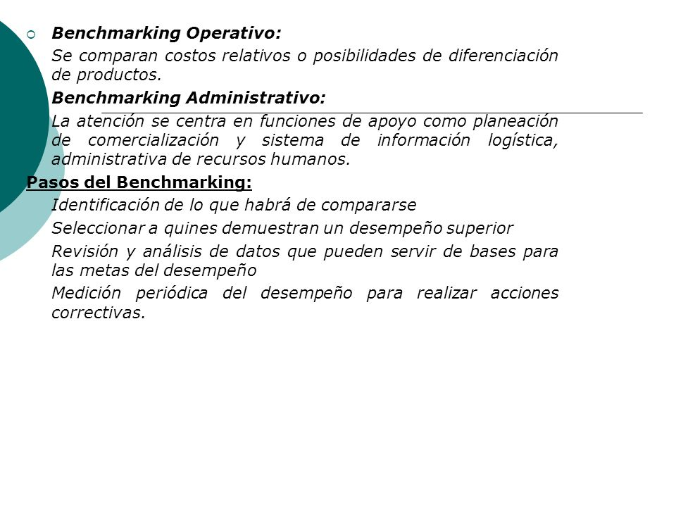 Benchmarking Operativo:
