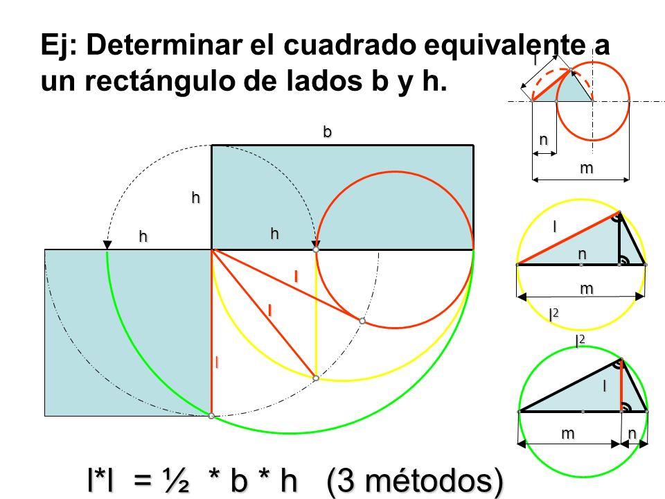 Ej: Determinar el cuadrado equivalente a un rectángulo de lados b y h.