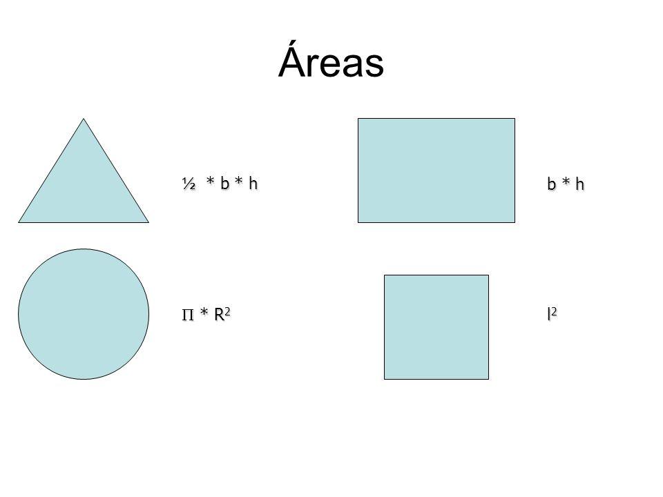 Áreas ½ * b * h b * h  * R2 l2