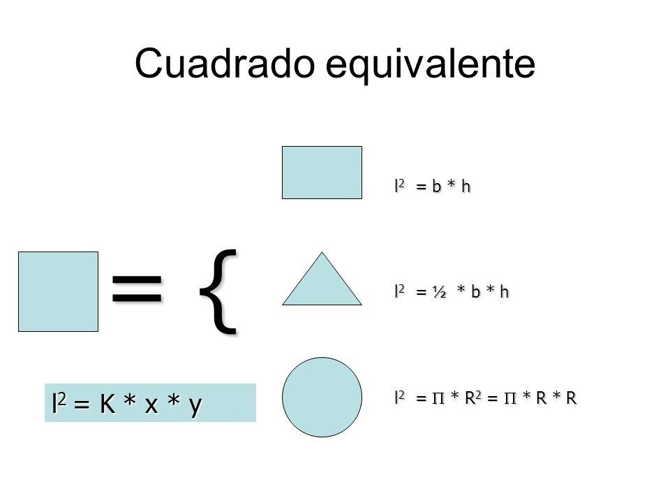 = { Cuadrado equivalente l2 = K * x * y l2 = b * h l2 = ½ * b * h