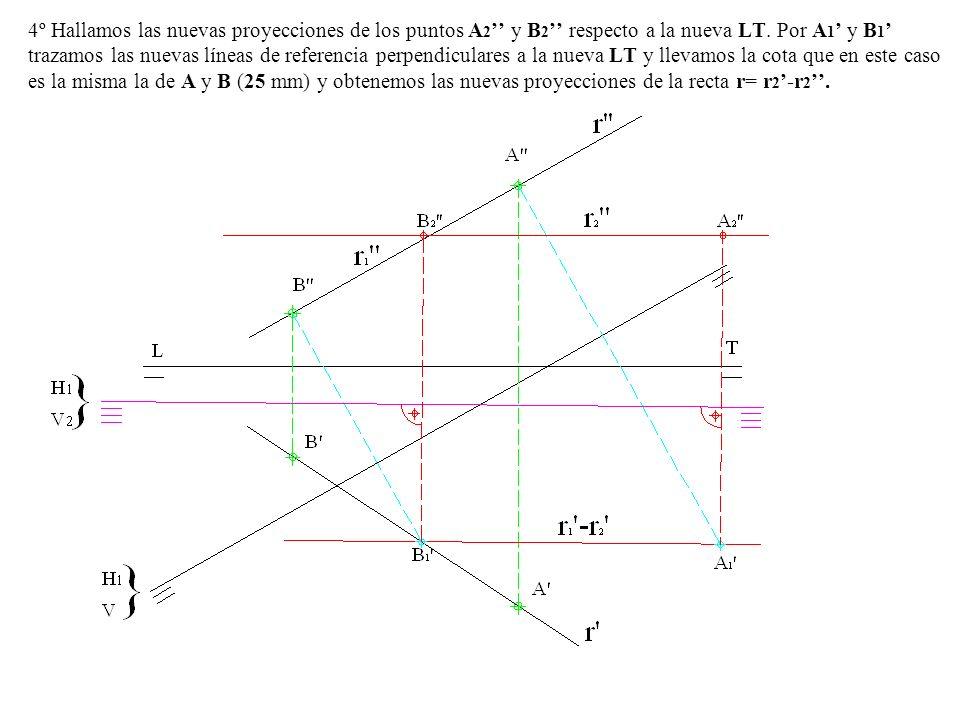 4º Hallamos las nuevas proyecciones de los puntos A2'' y B2'' respecto a la nueva LT.