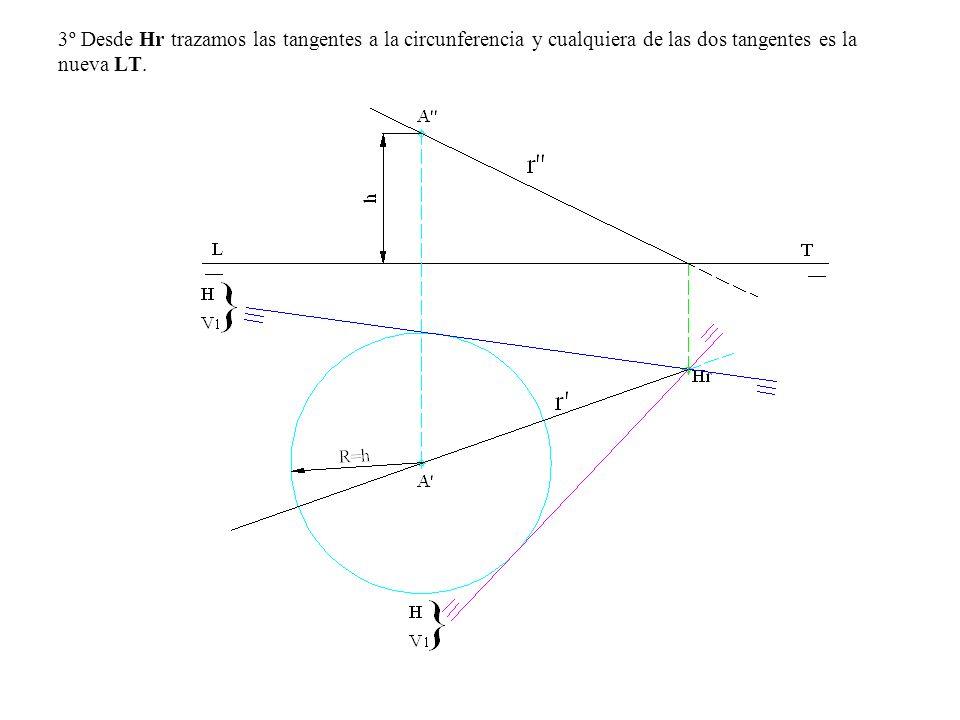 3º Desde Hr trazamos las tangentes a la circunferencia y cualquiera de las dos tangentes es la nueva LT.