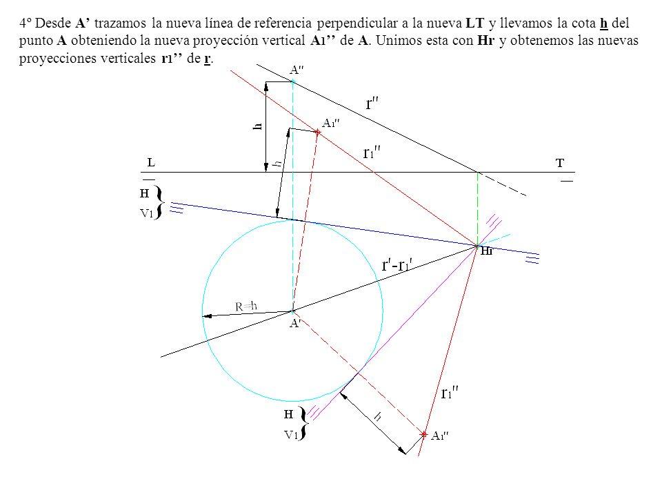4º Desde A' trazamos la nueva línea de referencia perpendicular a la nueva LT y llevamos la cota h del punto A obteniendo la nueva proyección vertical A1'' de A.