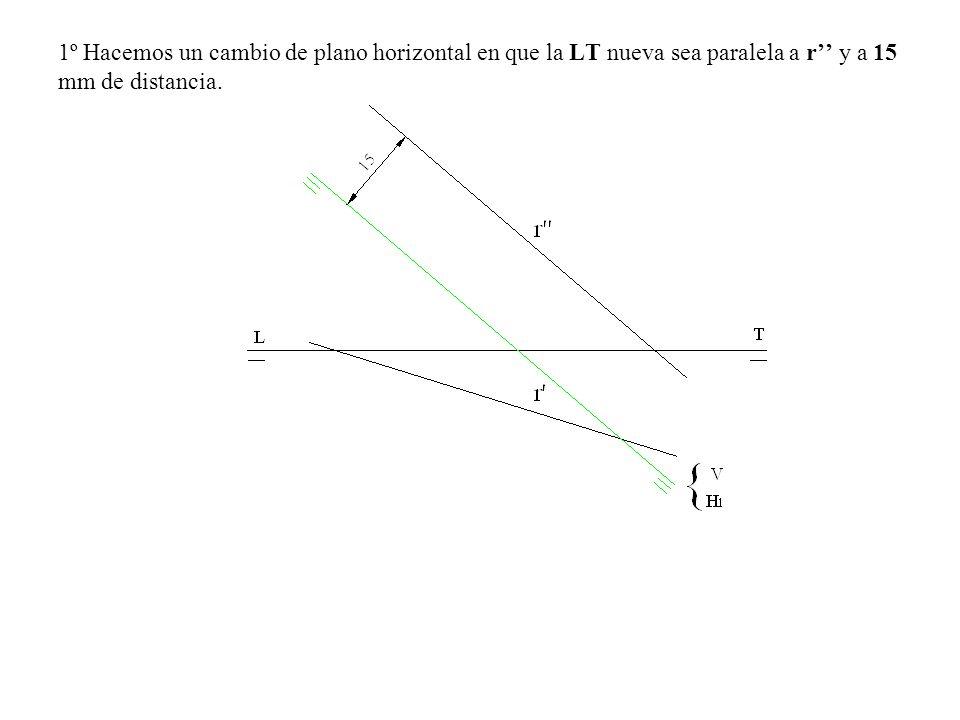 1º Hacemos un cambio de plano horizontal en que la LT nueva sea paralela a r'' y a 15 mm de distancia.