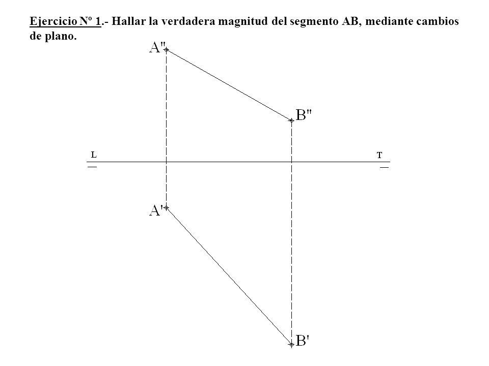 Ejercicio Nº 1.- Hallar la verdadera magnitud del segmento AB, mediante cambios de plano.