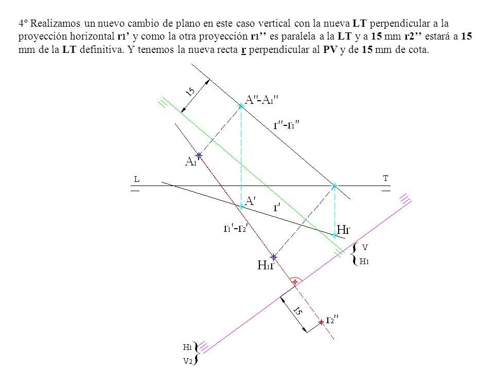 4º Realizamos un nuevo cambio de plano en este caso vertical con la nueva LT perpendicular a la proyección horizontal r1' y como la otra proyección r1'' es paralela a la LT y a 15 mm r2'' estará a 15 mm de la LT definitiva.