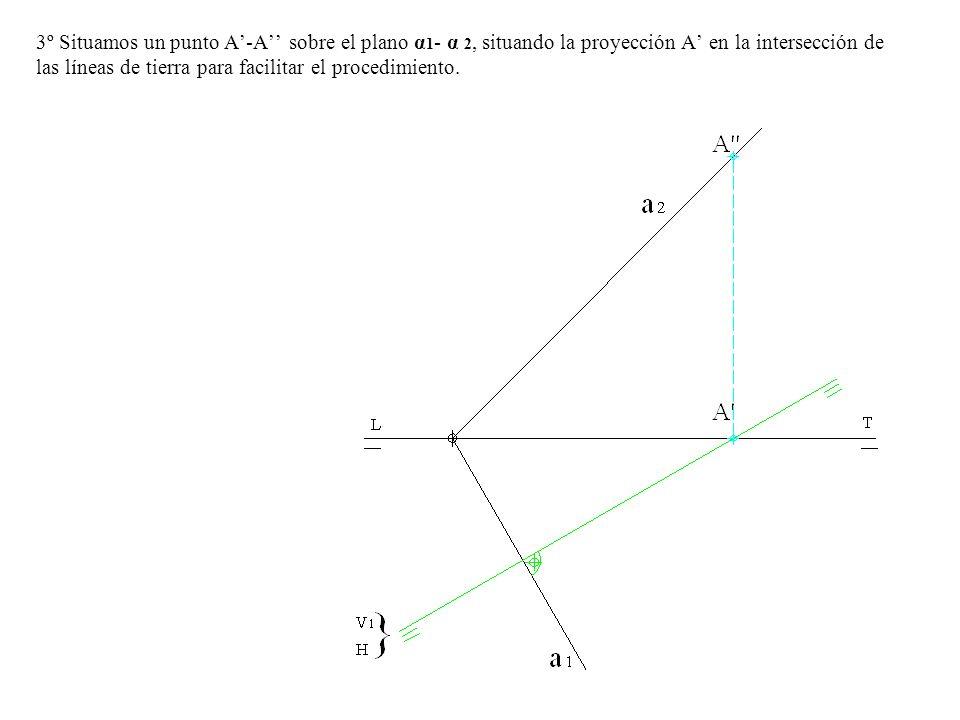 3º Situamos un punto A'-A'' sobre el plano α1- α 2, situando la proyección A' en la intersección de las líneas de tierra para facilitar el procedimiento.