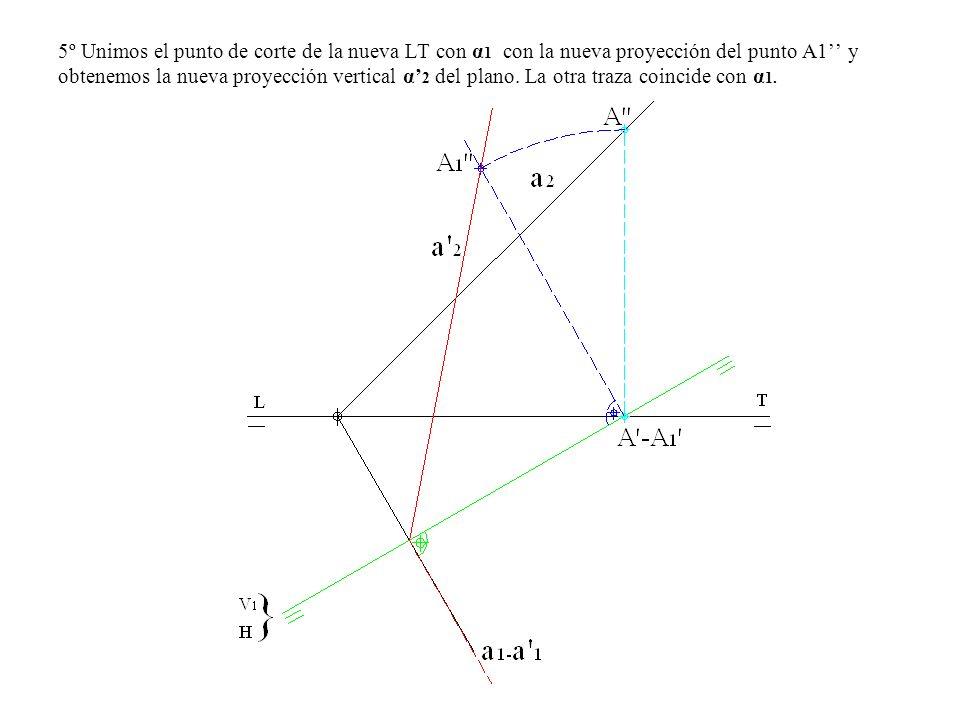 5º Unimos el punto de corte de la nueva LT con α1 con la nueva proyección del punto A1'' y obtenemos la nueva proyección vertical α'2 del plano.