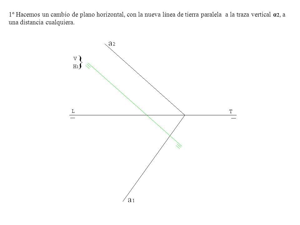 1º Hacemos un cambio de plano horizontal, con la nueva línea de tierra paralela a la traza vertical α2, a una distancia cualquiera.
